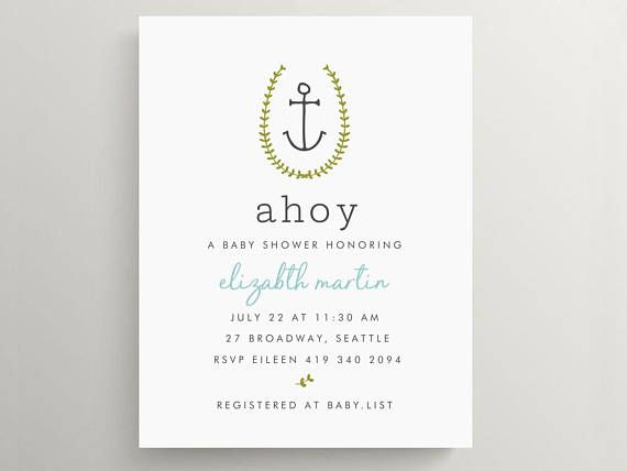 ahoy anchor baby shower invitation set | birthday | bridal shower | nautical | simple | ahoy its a boy | note card