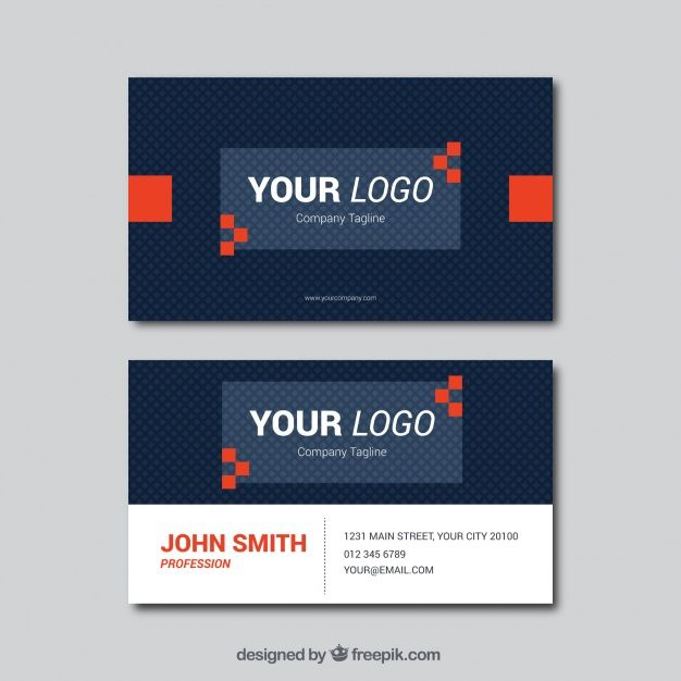 Dark blue business card with red shapes #Free #Vector  #Logo #Businesscard #Business #Card #Design #Template #Geometric #Blue #Office #Red #Visitingcard #Shapes #Color #Presentation #Flat #Stationery #Corporate #Company #Corporateidentity #Branding