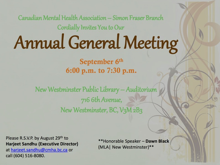 You are all invited to join us in celebrating and supporting the 54th Annual General Meeting of our branch. Friends, family, and the general public are welcome. See you this Thursday September 6th at 6pm!