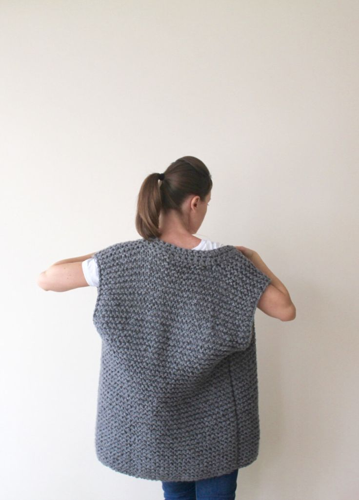Hand knitted grey vest made from hand crochet cable acrylic yarn. Soft and super warm. Very stylish. You can wear with jeans, pants or dress.