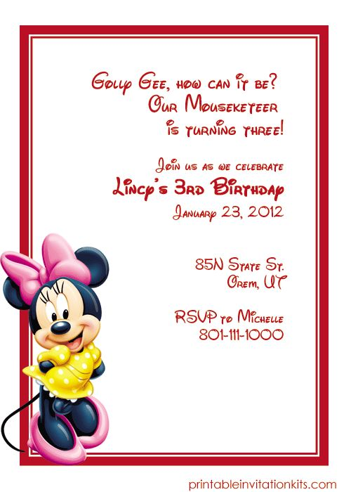 Minnie Mouse Free Birthday Invitation Template  Http://printableinvitationkits.com/minnie