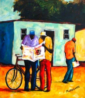'Sharing the news' by Peter Kwangware, born 1974 in Masvingo, Zimbabwe
