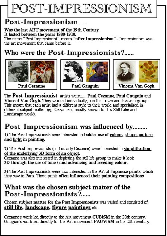 an overview of the ideas of the post impressionism movement Post-impressionism is the term coined by overview the post-impressionists were the impressionist camille pissarro experimented with neo-impressionist ideas.