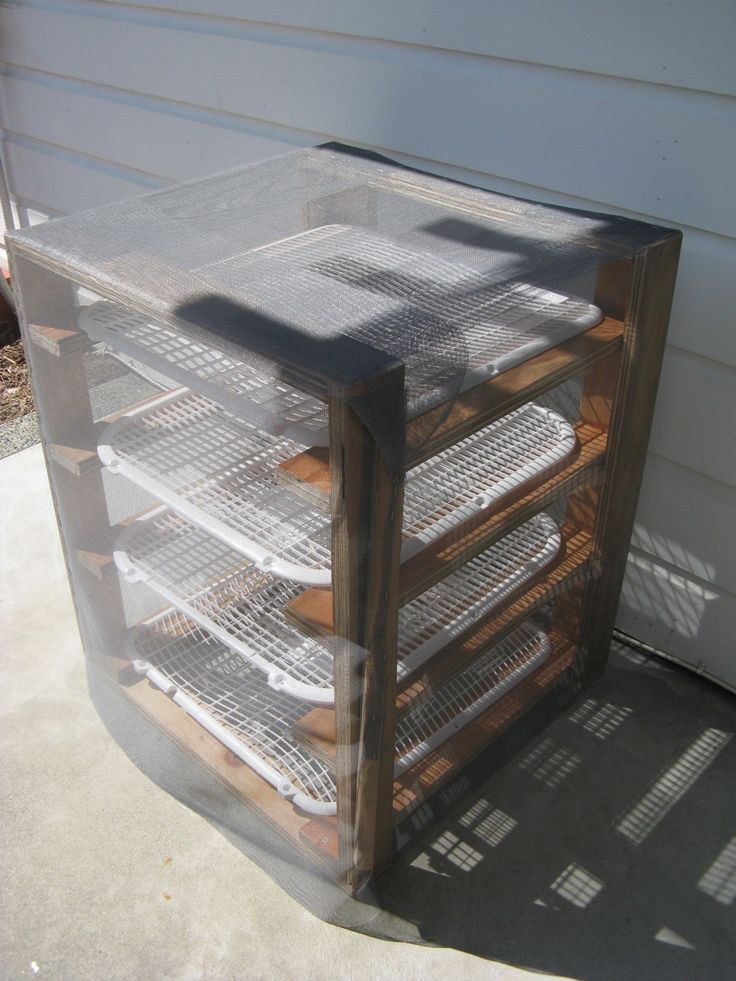 My own solar drying rack from 2 broken fans, scrap wood & screen mesh.