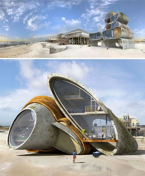 Some spots are such beautiful potential locations for a home, yet repeated natural disasters make them inhospitable for all but the strongest and most durable of dwellings. Architect Dionisio Gonzales imagines just how creative we could get in building disaster-proof structures with 'Architecture for Resistance,' a series of surrealist fantasies that often take their cues from natural shapes like shells.