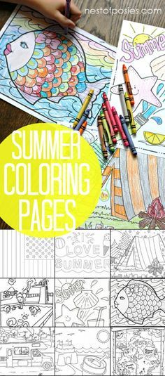 Summer Coloring Pages. Quick boredom busters without a big mess. Including a treasure map, beach and camping themed pages and much more!