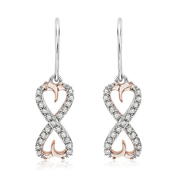 Kolczyki różowe i białe złoto z brylantami - Biżuteria srebrna dla każdego tania w sklepie internetowym Silvea