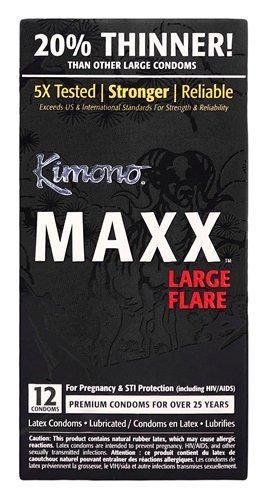 Les condoms Kimono MAXX sont le fruit d'une technologie de pointe associée à une attention soignée pour chaque détail. Le procédé consiste en la sélection du meilleur latex de caoutchouc naturel combinée à une formulation spéciale grâce à une technologie de pointe. Le résultat? Un condom incroyablement sûr et mince.  Diamètre à la base : 2.09/53mm  Diamètre de la tête : 2.60/66mm
