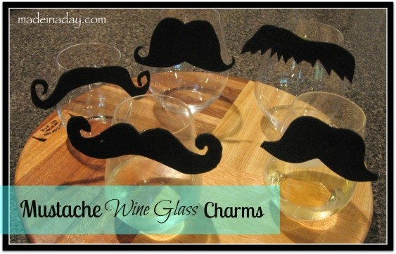 This is so awesome... instead of traditional wine glass charms, make mustache clip ons!
