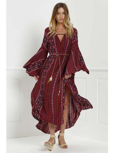 Bell Sleeve Tribal Pattern Print Dress RED: Long Sleeve Dresses | ZAFUL