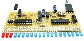 Vu Meter LM3914 - 20 Leds - Ponto / Barra - LED AZUL DIFUSO + Vermelho
