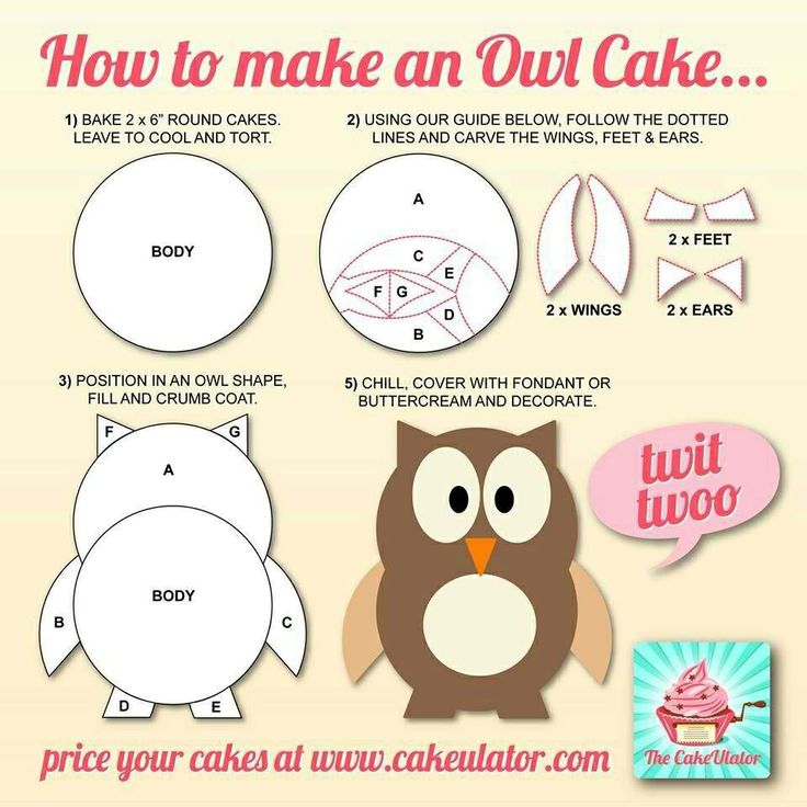 Owl cake from round cakes