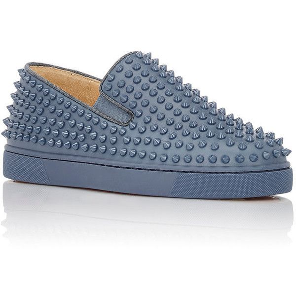 Christian Louboutin Men's Roller-Boat Slip-On Sneakers ($1,195) ❤ liked on Polyvore featuring men's fashion, men's shoes, men's sneakers, shiny shoes, pull on shoes, slip-on sneakers, slip on trainers and embellished shoes