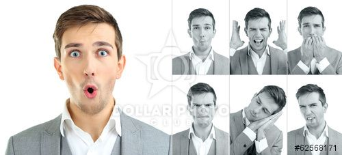http://www.dollarphotoclub.com/stock-photo/Collage of handsome emotional man isolated on white/62568171 Dollar Photo Club millions of stock images for $1 each