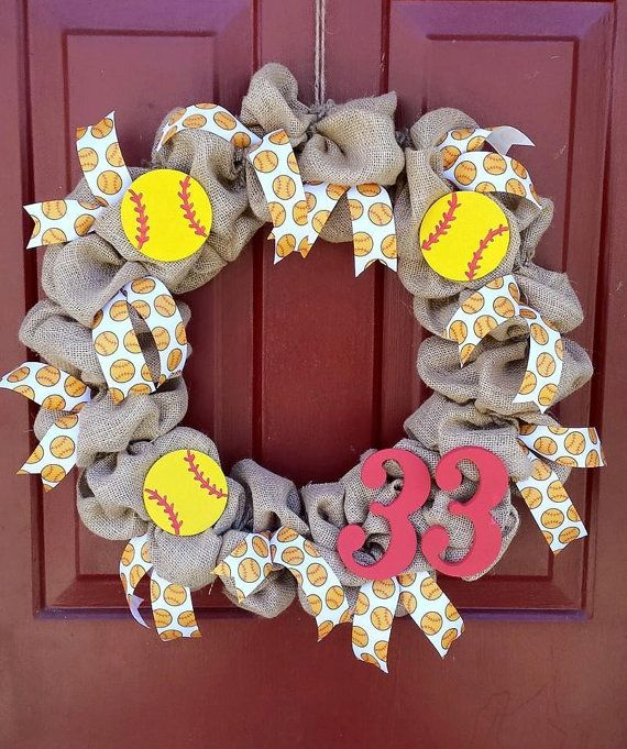 Softball/Baseball Ribbon Burlap Number by burlaphavenwreaths