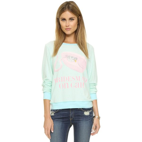 Wildfox Bridesmaid On Call Sweatshirt ($96) ❤ liked on Polyvore featuring tops, hoodies, sweatshirts, something blue, long sleeve tops, vintage sweat shirts, blue long sleeve top, sweat shirts and green sweatshirt
