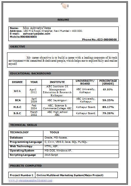 Professional Curriculum Vitae / Resume Template for All Job Seekers  Beautiful Resume Sample of a BCA and MCA with Excellent Cover Letter ,Professional Curriculum Vitae with Free Download in Word Doc. (1 Page Cover Letter + 3 Page Resume) (Click Read more for viewing and downloading the Sample   ~~~~ Download as many CV's for MBA, CA, CS, Engineer, Fresher, Experienced etc / Do Like us on Facebook for all Future Updates ~~~~