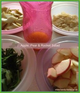 Apple, Pear & Rocket Salad is a fun snack for children to help make. It's healthy too.