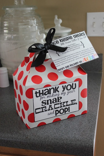 """LAST MINUTE TEACHER GIFT - extra yummy rice krispie treats """"Thank you for making my year snap, crackle, and pop!"""""""
