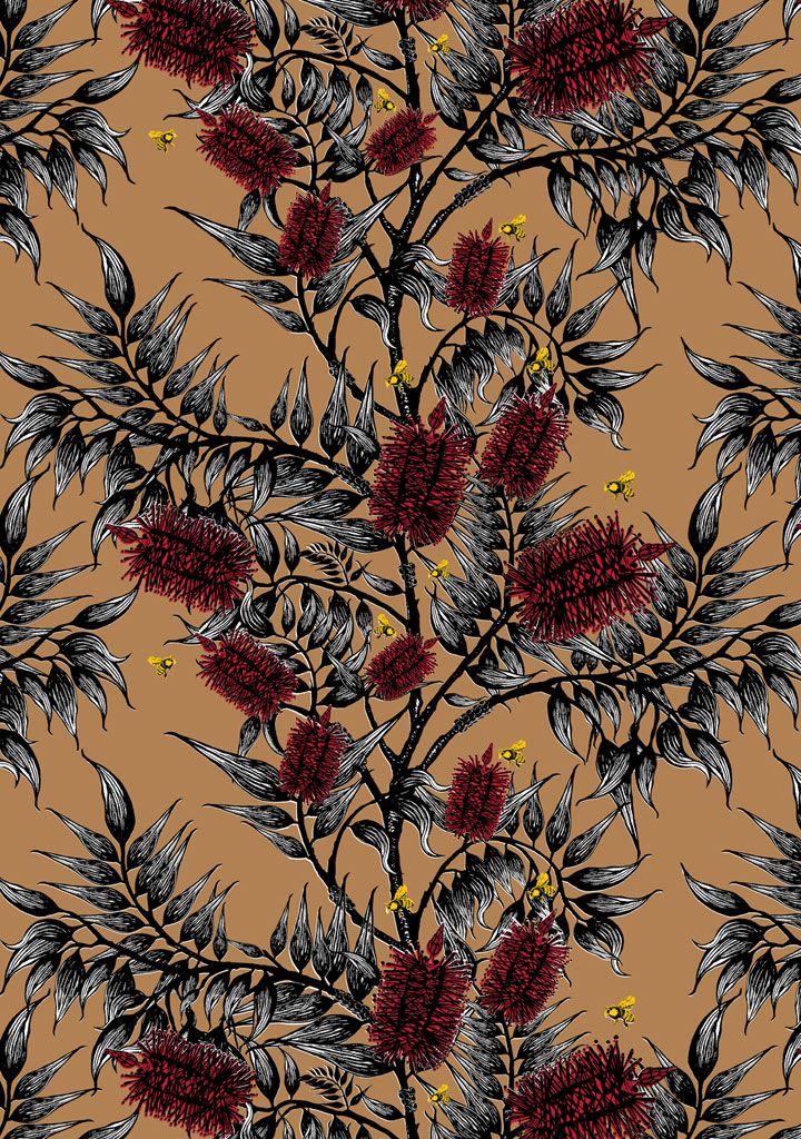 Bees in the Bottlebrush Wallpaper | Funky Wombat Textiles Wallpaper
