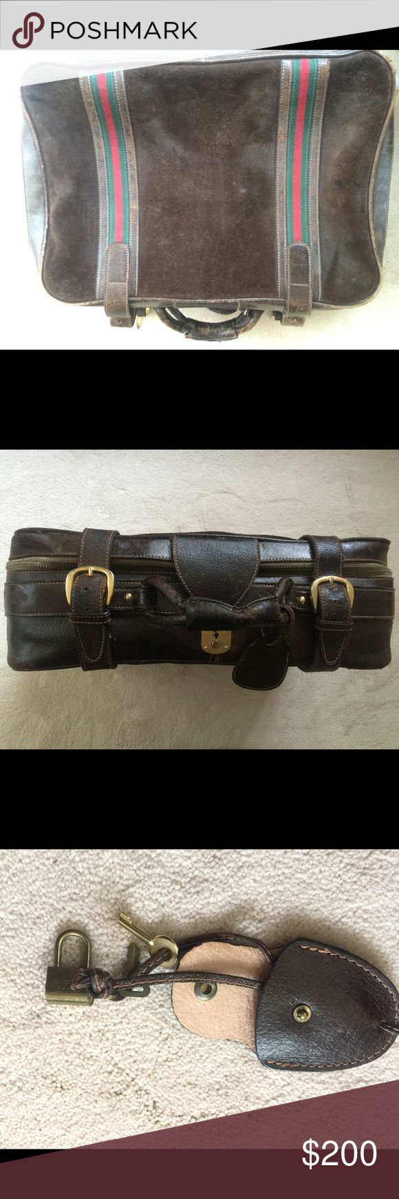 Gucci travel bag -- dark brown leather/suede Vintage travel case purchased by the seller back in 1980s from the Gucci store located in the Watergate retail area in DC. Has been around the world several times and consequently one strap had to be repaired. All original -- includes tiny Gucci padlock and key. Gucci Other