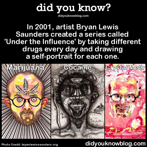 In 2001, artist Bryan Lewis Saunders created a series called 'Under the Influence' by taking different drugs every day and drawing a self-portrait for each one. Source / Bryan Lewis Saunders Website