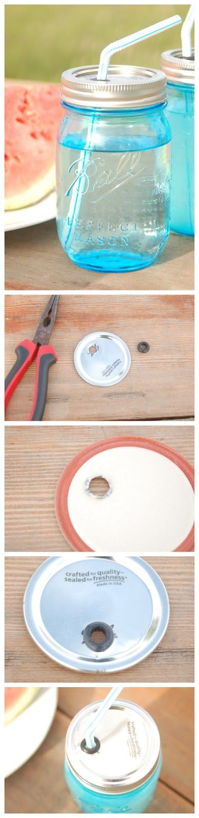 Make Your Own Canning Jar Cup with Straw http://www.theblissfullycontentlife.org/2013/06/make-your-own-portable-ball-canning-jar.html