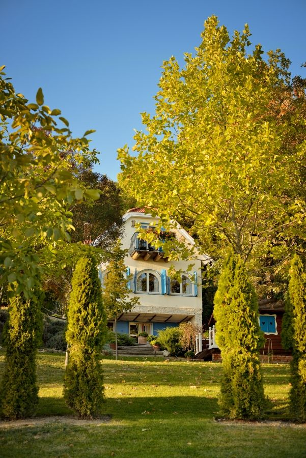 Sipos Ház nestled among trees at Catherine's Vineyard Cottages in Csákberény, Hungary.