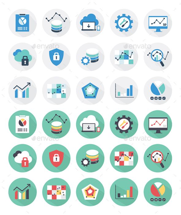 Vector set of 15 flat web icons and color variation.  This icon set covers following themes :  1. Development  2. Technology  3. B