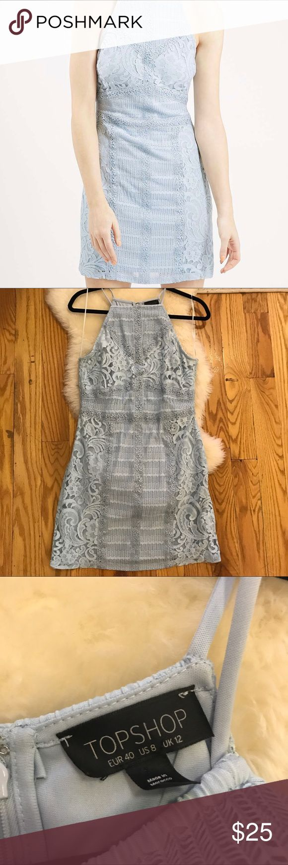 Topshop light blue lace bodycon dress (size 8) Pale pastel blue, lace with mesh and crochet details from Topshop. Worn a few times but no visible wear/tear. Hits mid thigh. Perfect for night out with nude heel or daytime with a cardigan Topshop Dresses Mini