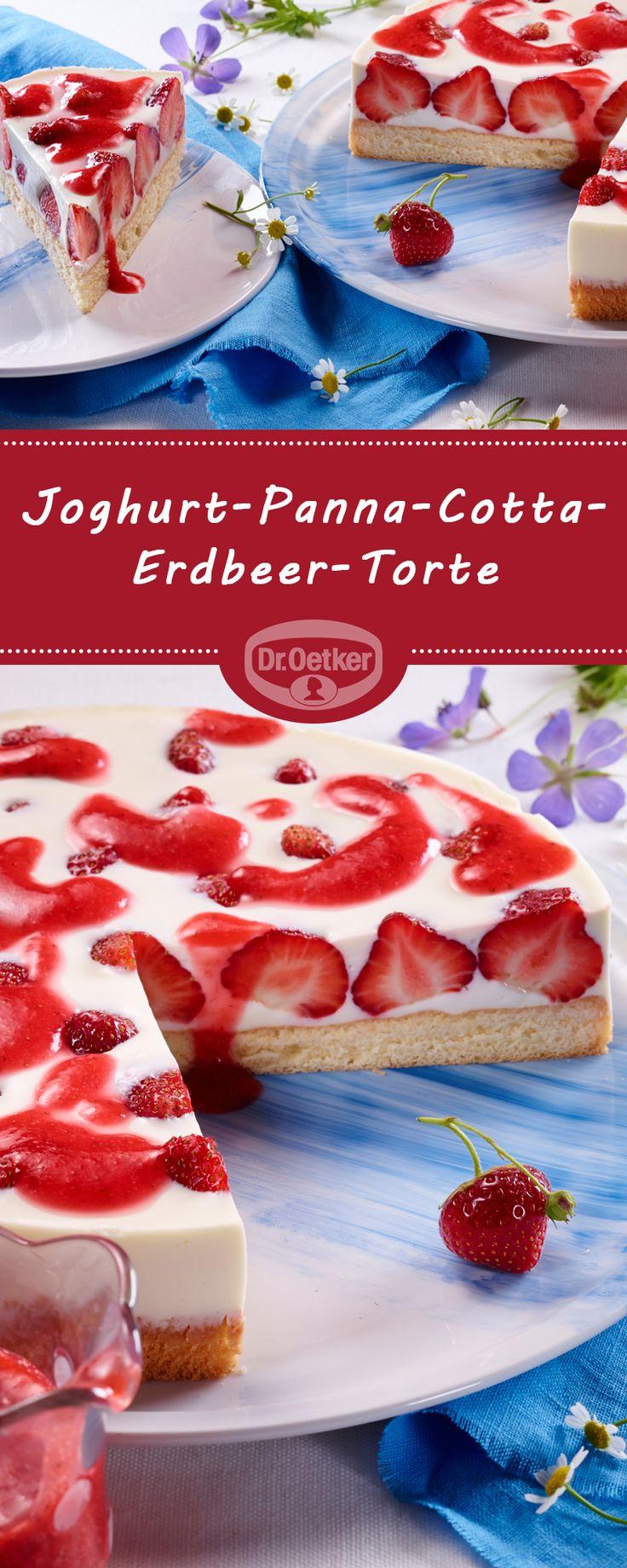 Yoghurt-Panna-Cotta-Erdbeer-Torte: Loose biscuit with delicious cream filling, …  – Zauberhafte Torten-Rezepte