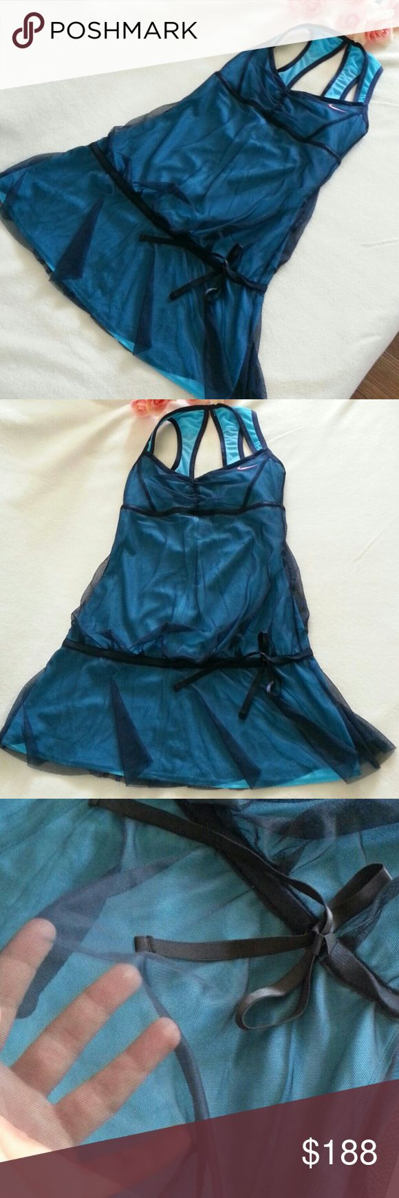 """NOWT Nike Fit Dry Tennis Dress Size XS BRAND NEW WITHOUT TAG Teal green blue color with cute lace style Armpit to hem 22.5"""" Nike Dresses"""