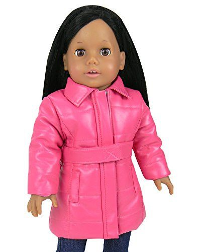 Doll Coat, Hot Pink Long Puffer Coat with Belt and Pockets for 18 Inch Dolls Like American Girl & More! by Sophia's Doll Clothes & Accessories