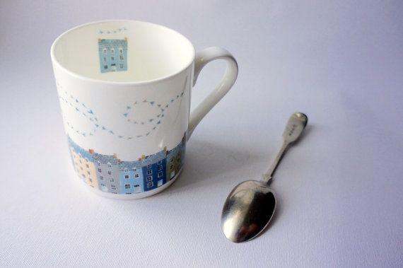 Aberystwyth Fine Bone China Mug printed with by ValerianeLeblond