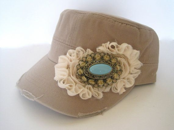 Khaki Cadet Military Distressed  Army Hat with Ivory Chiffon Flowers and Gorgeous Turquoise Pendant Accent, $35.00