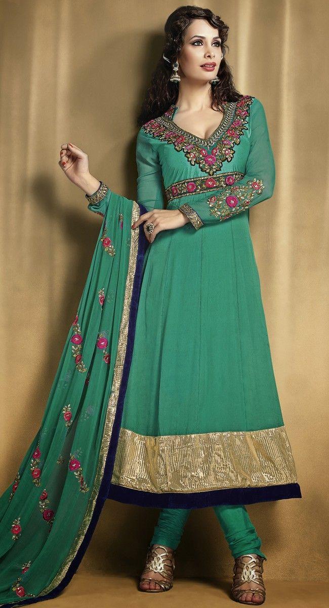 Charming Emerald Green Salwar Kameez