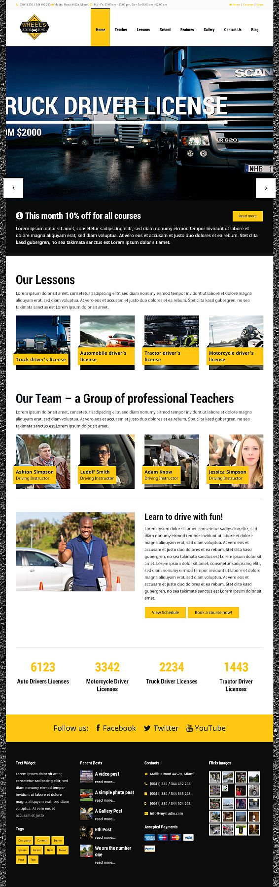 Wheels - Responsive WordPress Theme for Driving Schools. Download and Info here: http://7theme.net/downloads/wheels-wordpress-driving-school-theme/