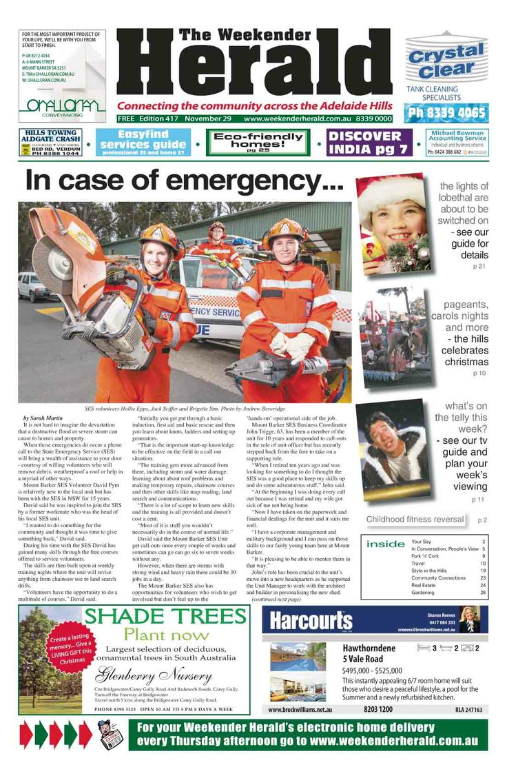 Latest edition of the Weekender Herald now online at  http://adelaidehills.realviewtechnologies.com/