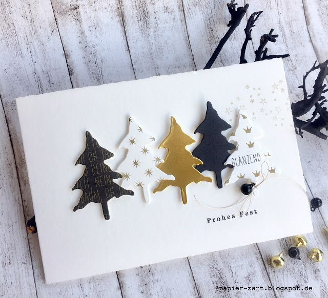 papierZART: Frohes Fest, Weihnachtskarte, Weihnachten, Tannen, Alexandra Renke
