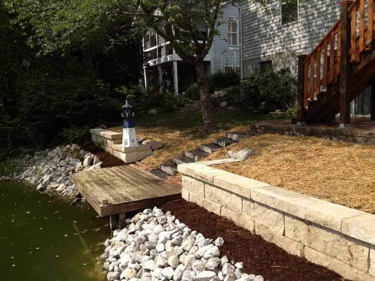 27 best sloping yard solutions images on pinterest garten house using rip rap as an erosion control barrier between the lake and planting bed the steps leading to the patio are blue stone solutioingenieria Choice Image