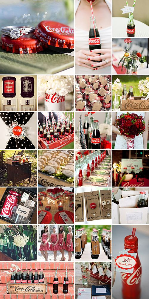 Coca-Cola Weddings: This fizzy deliciousness is as part of our culture as garter tossing and cutting the cake, so why not incorporate in your wedding theme!