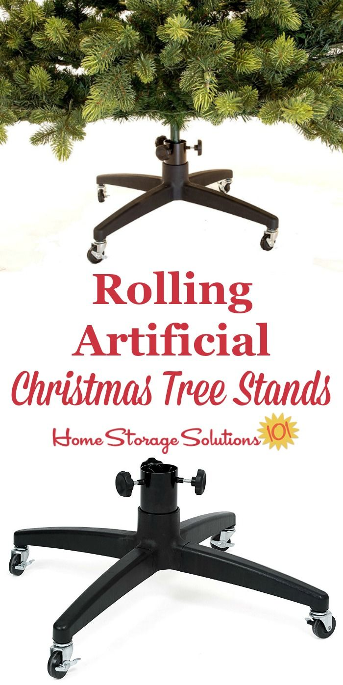 A fully assembled artificial Christmas tree is quite heavy. Do your back a favor and get rolling artificial Christmas tree stands and you'll thank yourself every single year from now on {on Home Storage Solutions 101} #ChristmasStorage #HolidayStorage #ChristmasTreeStorage