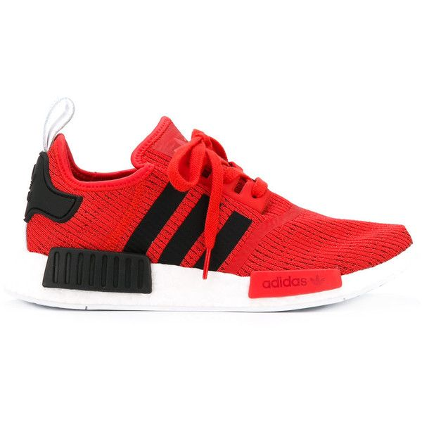 Adidas Originals NMD R1 sneakers ($154) ❤ liked on Polyvore featuring shoes, sneakers, red, round cap, unisex shoes, lace up shoes, lacing sneakers and adidas originals shoes