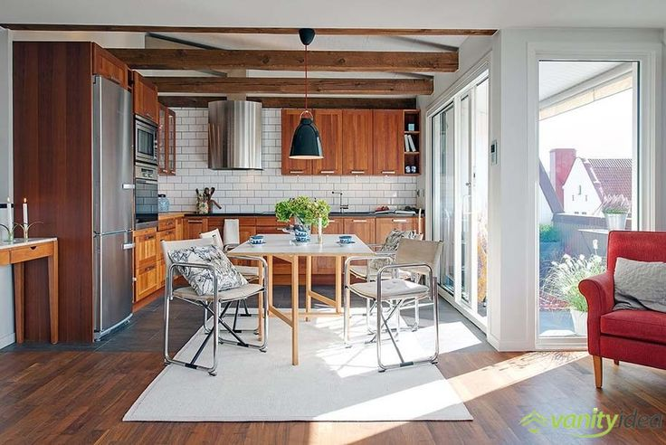 large kitchen with an exit to terrace