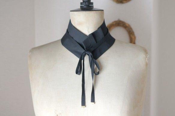 つけ襟 タック 黒 (黒リボンつき)|ファッション雑貨・小物|design il NODO|ハンドメイド通販・販売のCreema