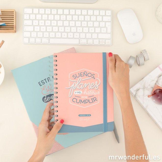 Agenda anual 2018 Día por página - Sueños, planes y mil historias por cumplir #mrwonderfulshop #agenda #2018 #planner #papelería #stationery