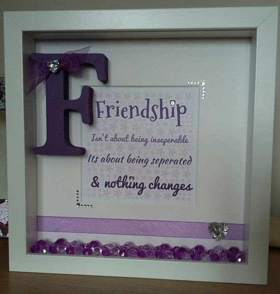 handmade personalised friend friendship quote gift frame word wall art box frame present purple picturewith crystalsbling