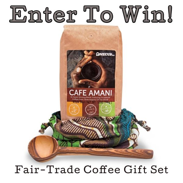 Enter to win a Fair-Trade Coffee Gift Set from WorldVision.org with hand-carved olivewood scooper and african fabric hand-sewn gift bag.: World Vision, Gift Ideas, Fairtrade, Coffee Gift, Holiday Gifts, Coffee Set