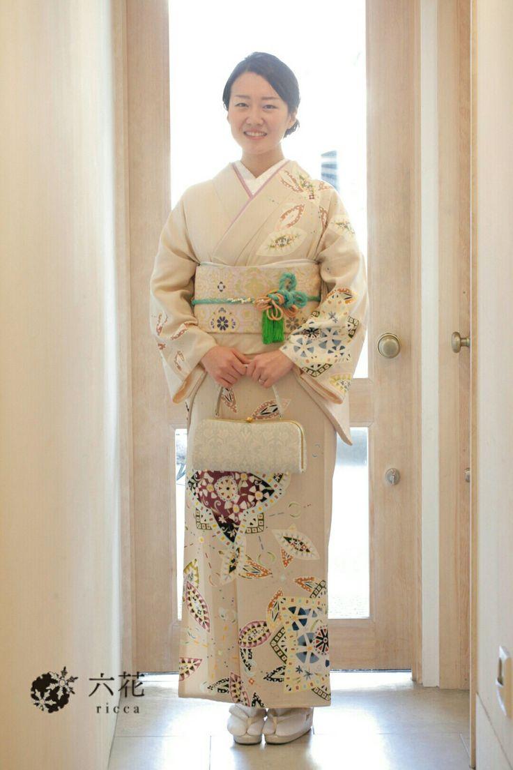 訪問着 六花オリジナル・シオノ手描き友禅訪問着 結婚式参列・パーティーなど 着物レンタル・着付け・ヘアセット