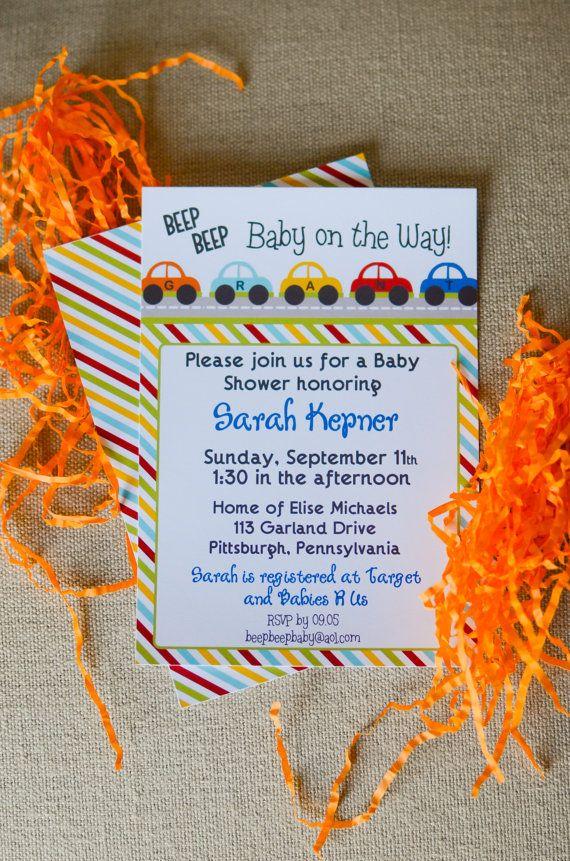 CARS Beep Beep Baby Shower/Birthday Invitation by LibbyLanePress, $17.00  Possible birthday Invitations for Little Man's 2nd birthday